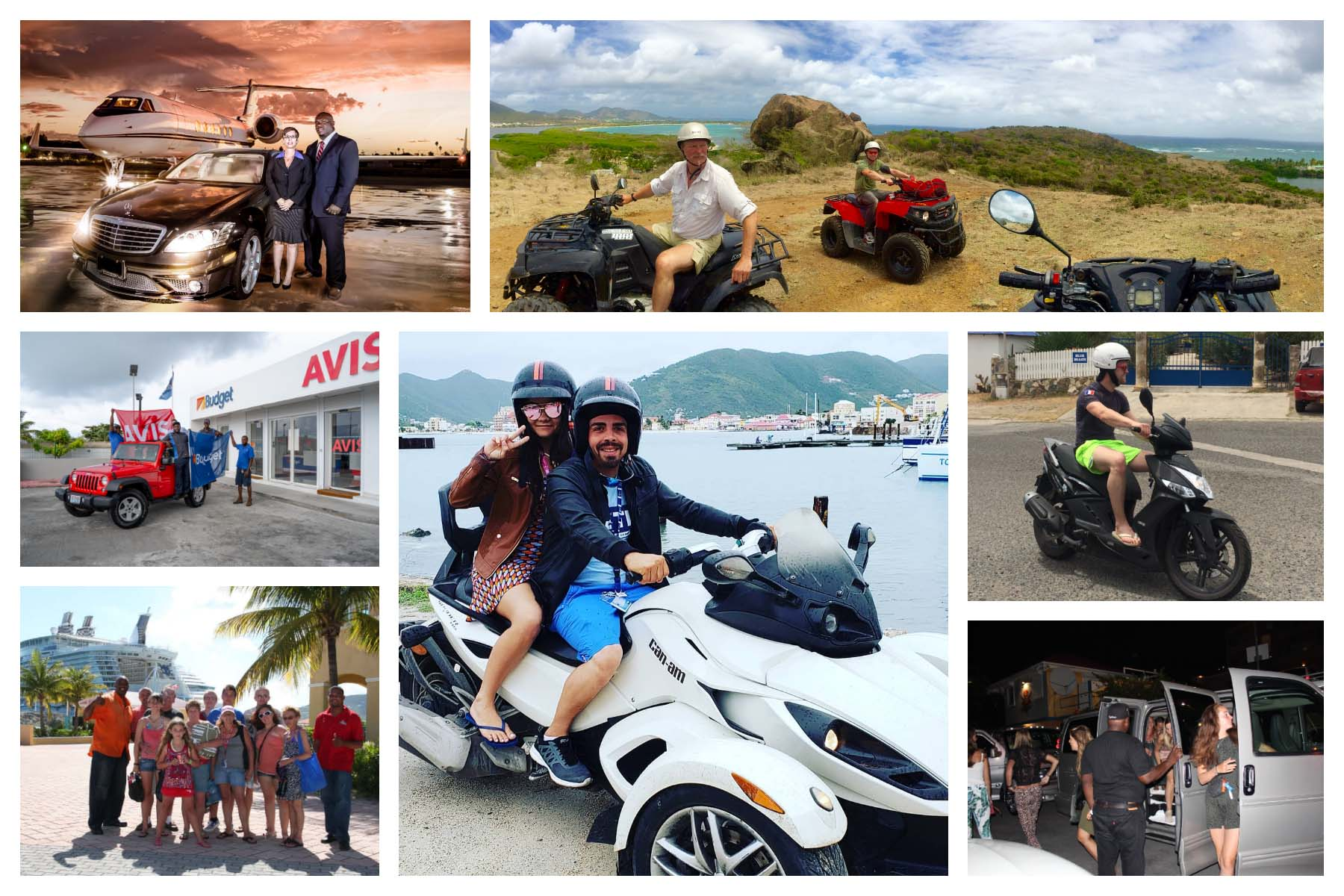 Transportation Sint Maarten, Taxi, Bus, Spyder, Trike, Harley, ATV, Car Rental, Scooter, Private Chauffeur, Events, Island Tours.