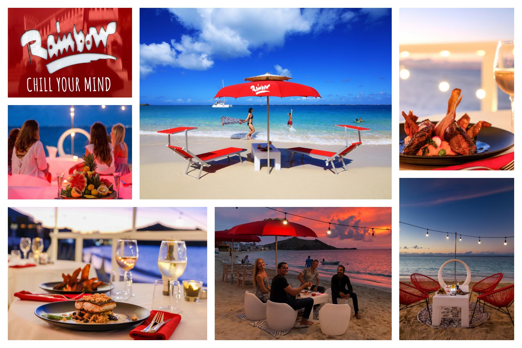 Rainbow Café Experience - Grand Case Beach, St. Martin - Chic Beach Cafe, Restaurant, Lunch, Dinner, Bar, Lounge, Bueach chairs - Great for day and Night!